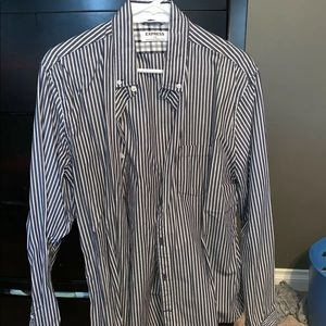 EXPRESS MENS STRIPPED LONG SLEEVE DRESS SHIRT L